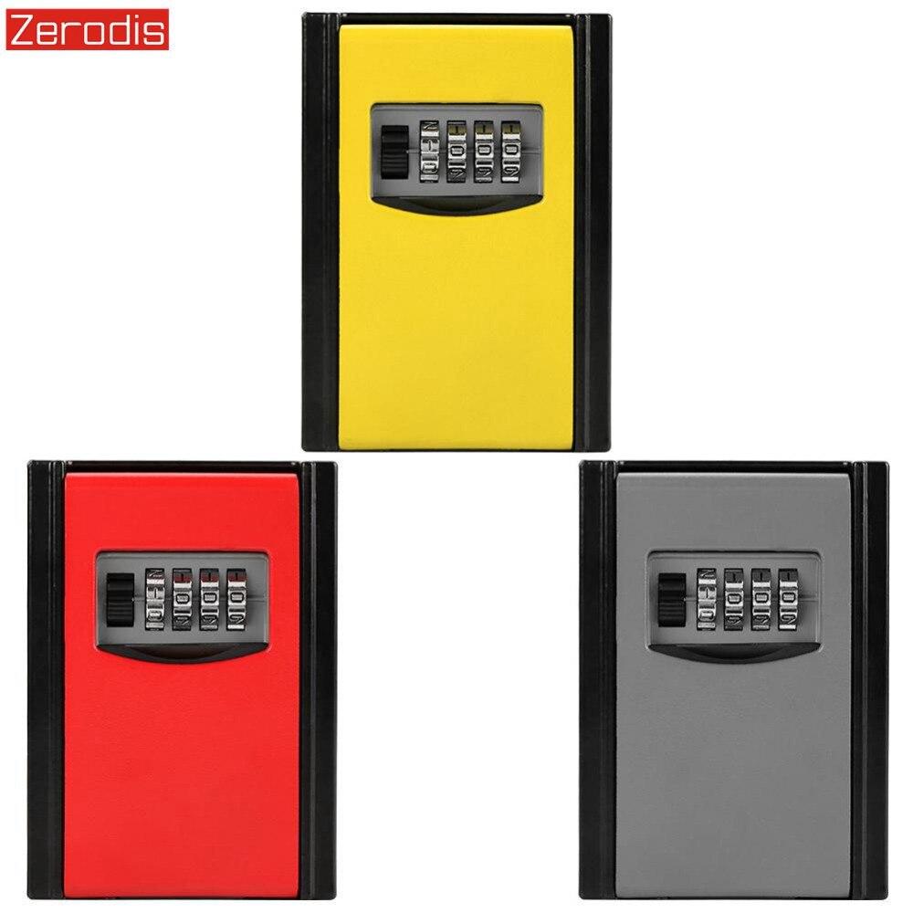 Caja de bloqueo de llave combinación de 4 dígitos de pared de montaje de llave de almacenamiento caja de almacenamiento secreto caja de almacenamiento con contraseña clave organizador caso interior al aire libre