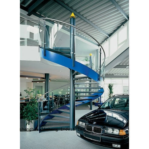 Modern  single stringer staircase, mono stringer wood staircase with glass railing