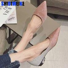 2020 printemps femmes chaussures bout pointu ballerines mode paillettes tissu sans lacet dames chaussures plates Zapatos Mujer n551