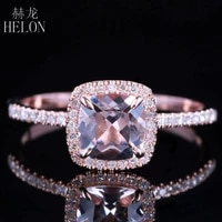 solid 10k rose gold certified cushion 0 9ct morganite diamonds engagement ring women wedding romantic jewelry ring claw prongs