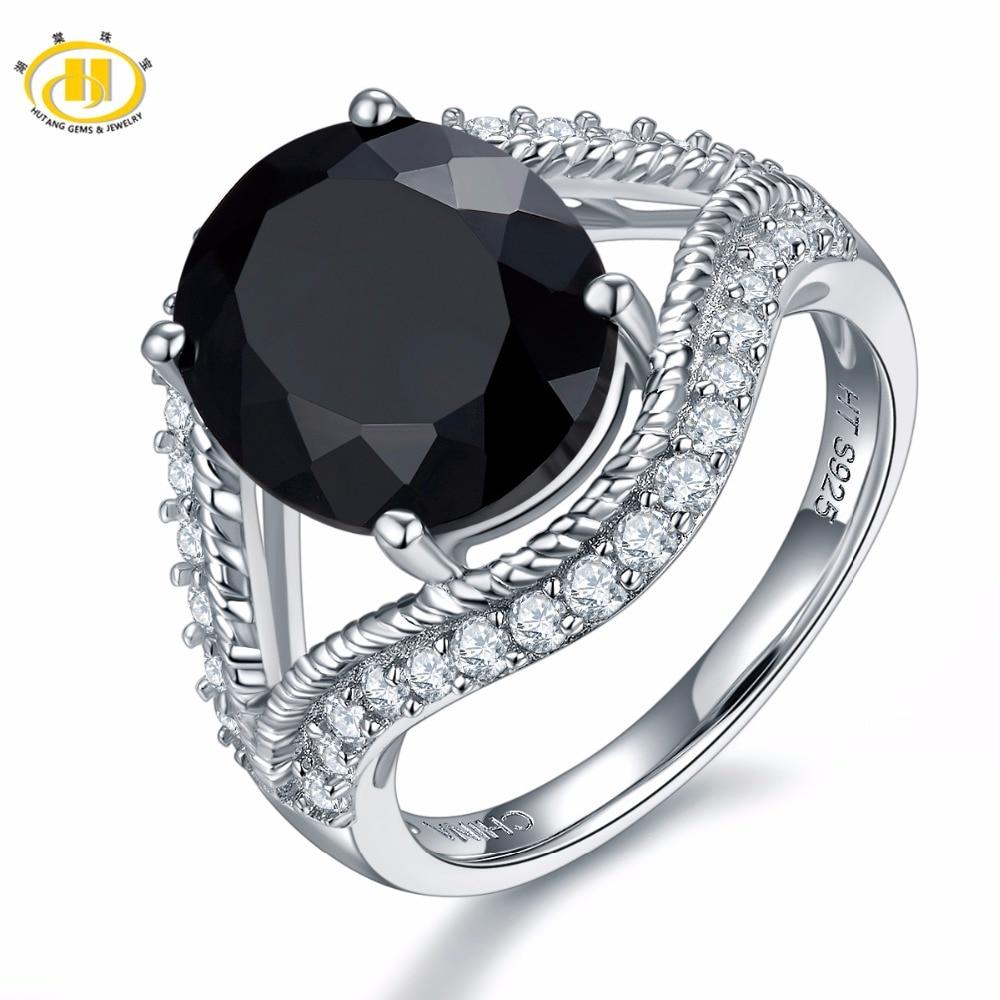Кольцо для помолвки Hutang, 6,27 карат, натуральный драгоценный камень, черная шпинель, из твердого серебра 925 пробы, модный камень для женщин, под...