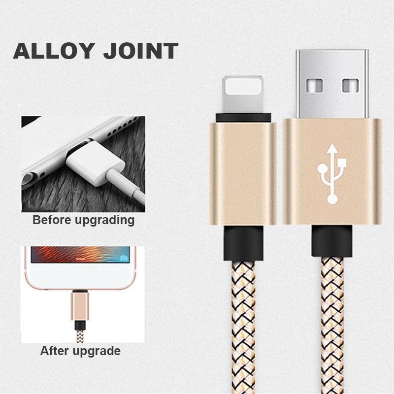 Cable de carga rápida USB, nailon, para iPhone XR XS MAX X...