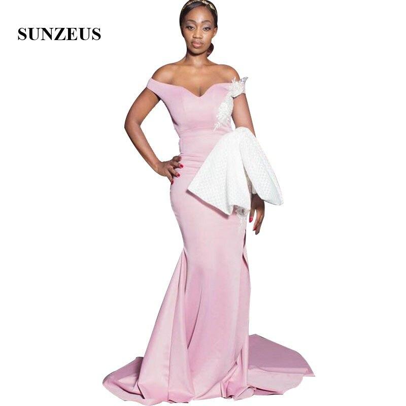 Vestido de damas de honor de sirena rosa con apliques hombros descubiertos...
