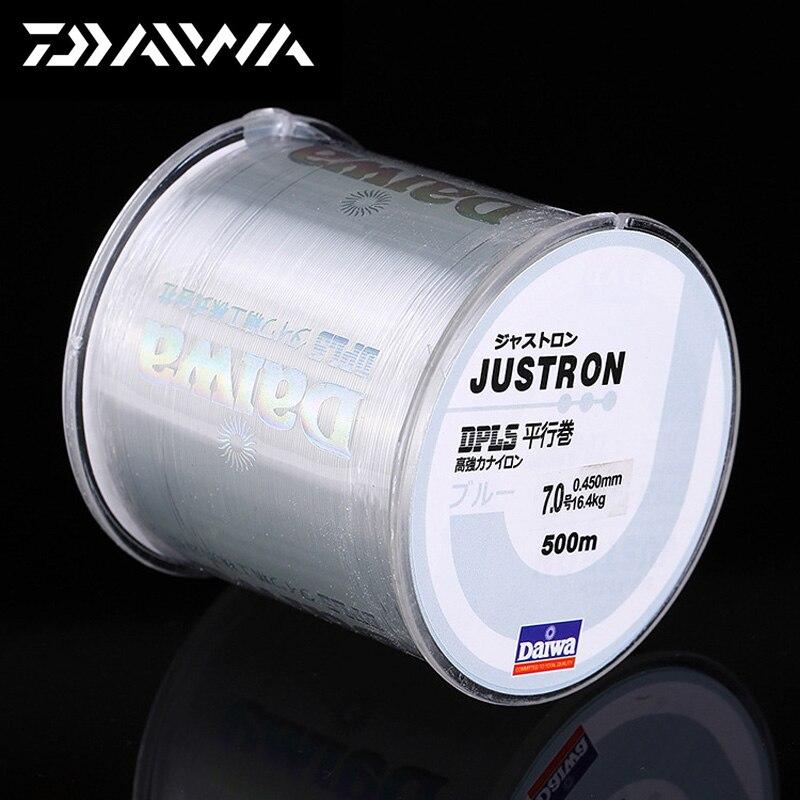DAIWA 500 м супер сильная нейлоновая леска Daiwa Justron 2LB - 40LB 7 цветов японская мононити основная леска с пластиковой коробкой