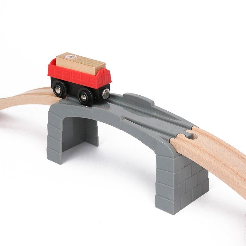 Kunststoff Grau Gerade Track Tunnel Holz Zug Track Zubehör Spur Zug Slot Holz Eisenbahn Spielzeug bloques de construccion