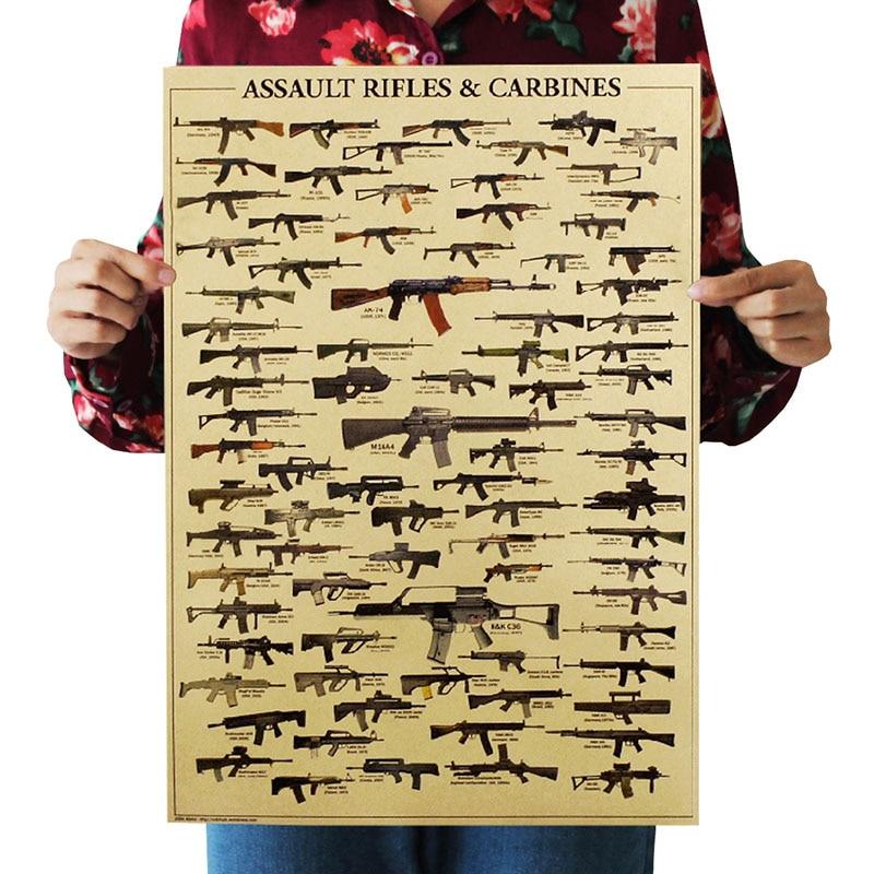 Cartel de Interior de 51x36 cm para muebles, pegatinas Retro clásicas para pared, pistola de fama mundial, abanico militar, papel Kraft, pintura decorativa