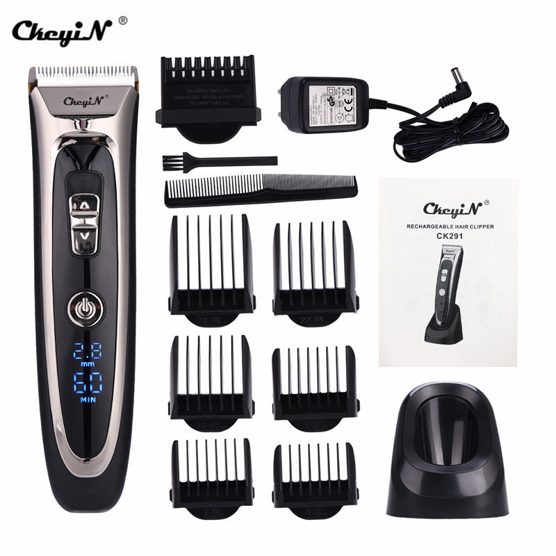 Professional Digital Hair Trimmer Rechargeable Electric Hair Clipper Men's Cordless Haircut Adjustab
