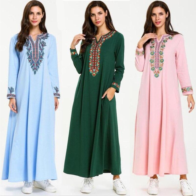 Musulmán árabe islámico 2019 Dubai Kaftan Abaya Kaftan marroquí Medio Oriente marroquí Indonesia vestido de gran tamaño Casual túnica de Dubái