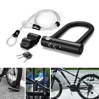 Professional Bicycle U-shape Lock Black Anti-hydraulic Shearing Anti-theft Lock Cycling Accessories High Quality Steel Material