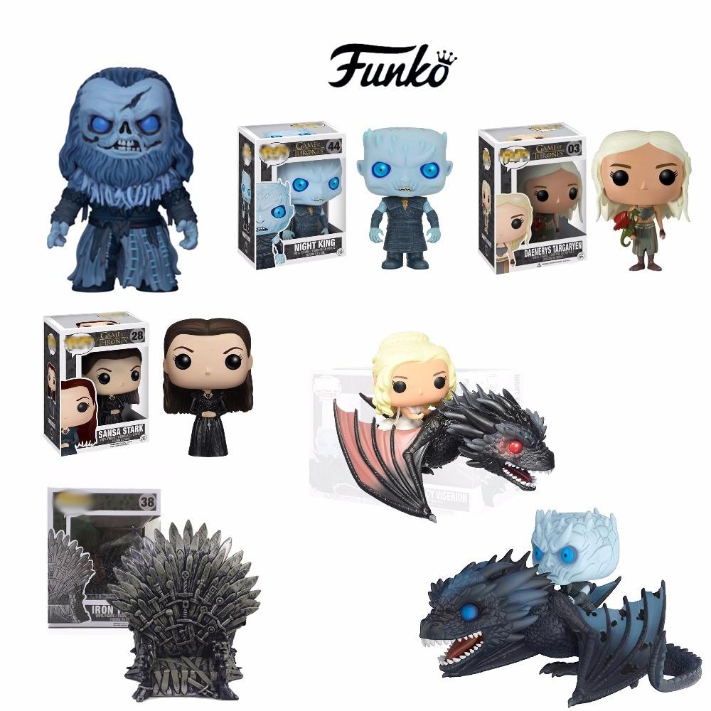 Action Game of Throne Figures Daenerys Night King With Drogon Sansa Stark Ramsay.Bolton Funko Model Collectable Toys Iron Throne
