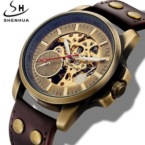 Vintage Skeleton Watch Men Automatic Self Winding Mens Watch Bronze Steampunk Leather Wrist Watch Clock Mechanism reloj hombre