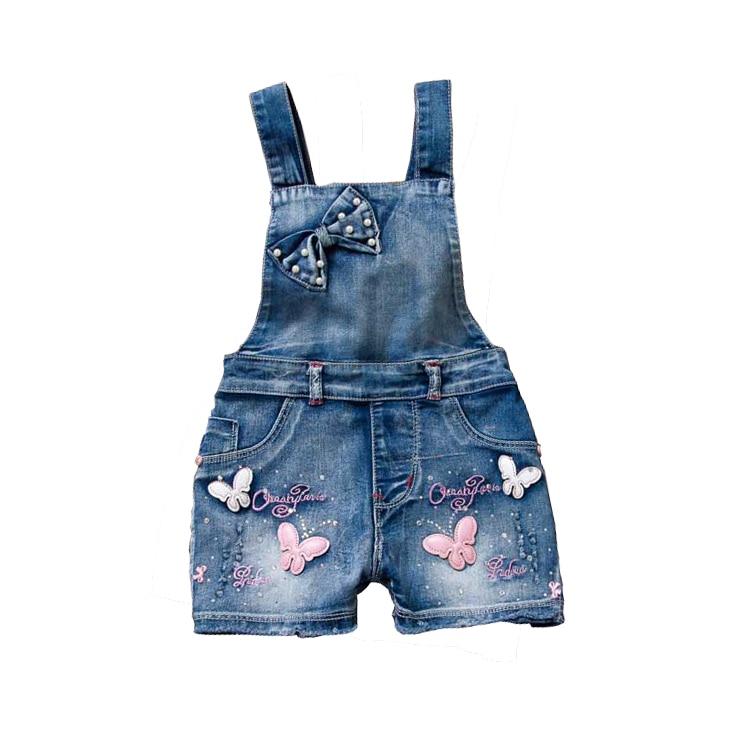 Летние комбинезоны с бантом для девочек детские джинсовые комбинезоны с бабочками, милые джинсовые лямки, Короткие штаны Детская Хлопковая...