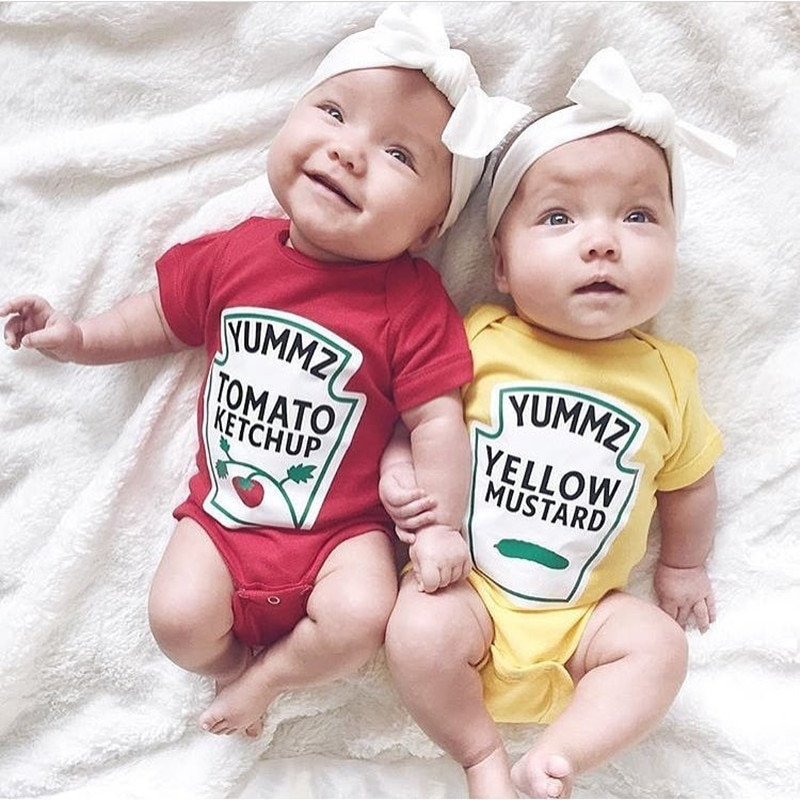 New summer baby clothes tomato ketchup and yellow mustard design baby bodysuit 0-12 Months Y723