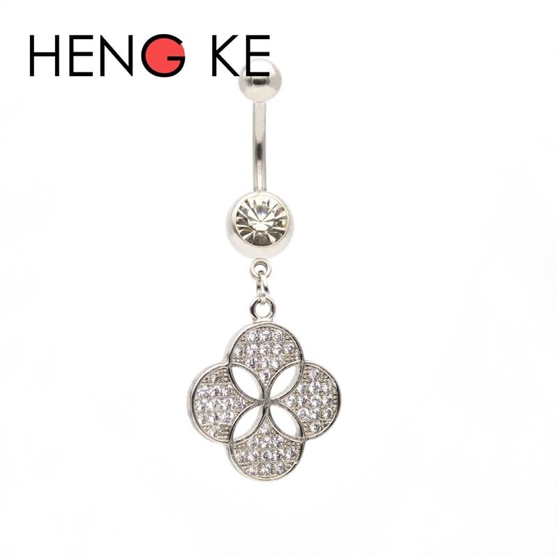 HENGKE, trébol de cuatro hojas, zirconia cristalina, barra abdominal quirúrgica de acero, gemas CZ, anillos colgantes para ombligo, botón perforación del cuerpo, trébol