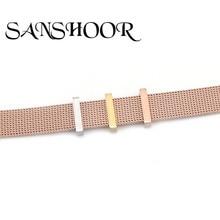 Sanshoor 쥬얼리 스테인레스 스틸은 rubbe 링 내부 10mm 와이드 스테인레스 스틸 메쉬 팔찌에 맞게 방지제를 중지합니다.