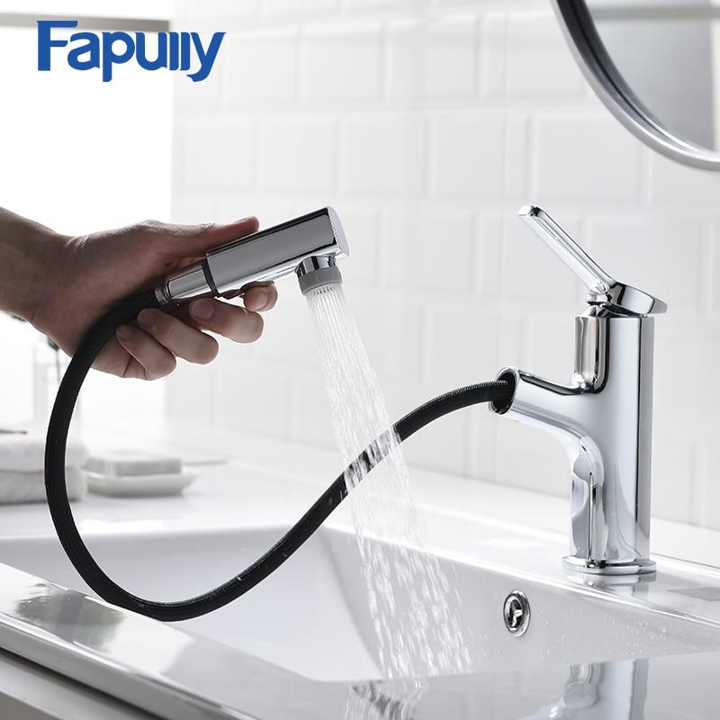 Fapully حوض الحنفيات سحب الكروم إنهاء بالوعة الحمام صنبور مقبض واحد اثنين وظيفة منفذ المياه صنبور حوض خلاط رافعة 1092