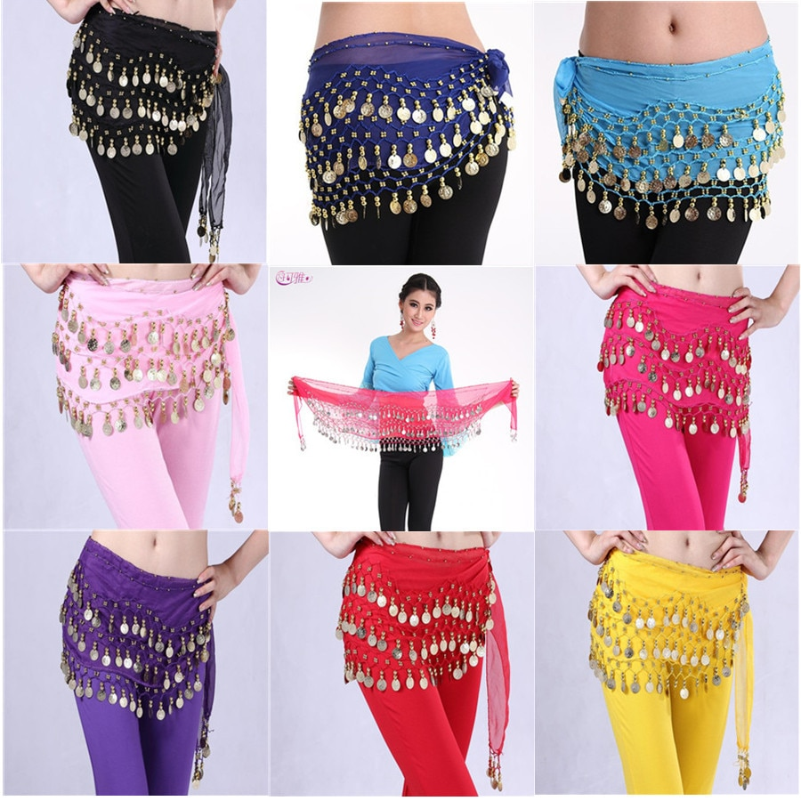 Women 3 Rows Belly Dance Belt Bellydance Hip Scarf Wrap Belly Dancing Belt Chain with 128 Gold Coins