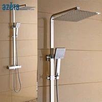azeta bathroom chrome finish wall mounted square thermostatic shower faucet with shower set at1865t