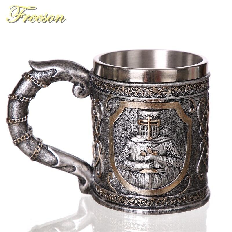 Taza de cerveza de acero inoxidable de resina de Guerrero taza de café de caballero 3D 350ml jarra de té personalizada Bar decoración de Halloween