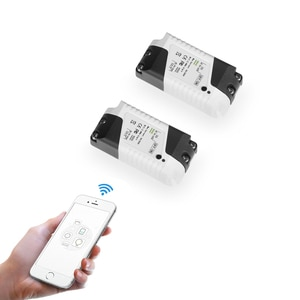 eMylo Smart Switch Mini WIFI Light Switch 220V 1ch Relay Wireless Remote Control Switch Timer For Google Home, Smart Life 2pcs
