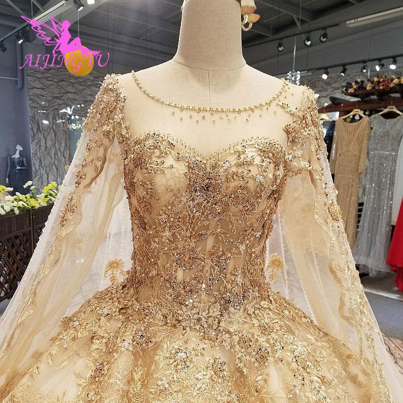 AIJINGYU nuevo estilo vestido de boda Guangzhou 2017 invierno bola gótica largo tren musulmán velo de boda diseñador