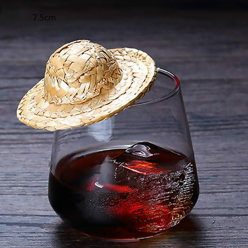 20pcs Mini Chapéu De Palha Cocktail Whisky Bebidas Decoração Cocktail Bar Acessórios Havaiana Piscina de Aniversário de Casamento Decorações Do Partido DIY