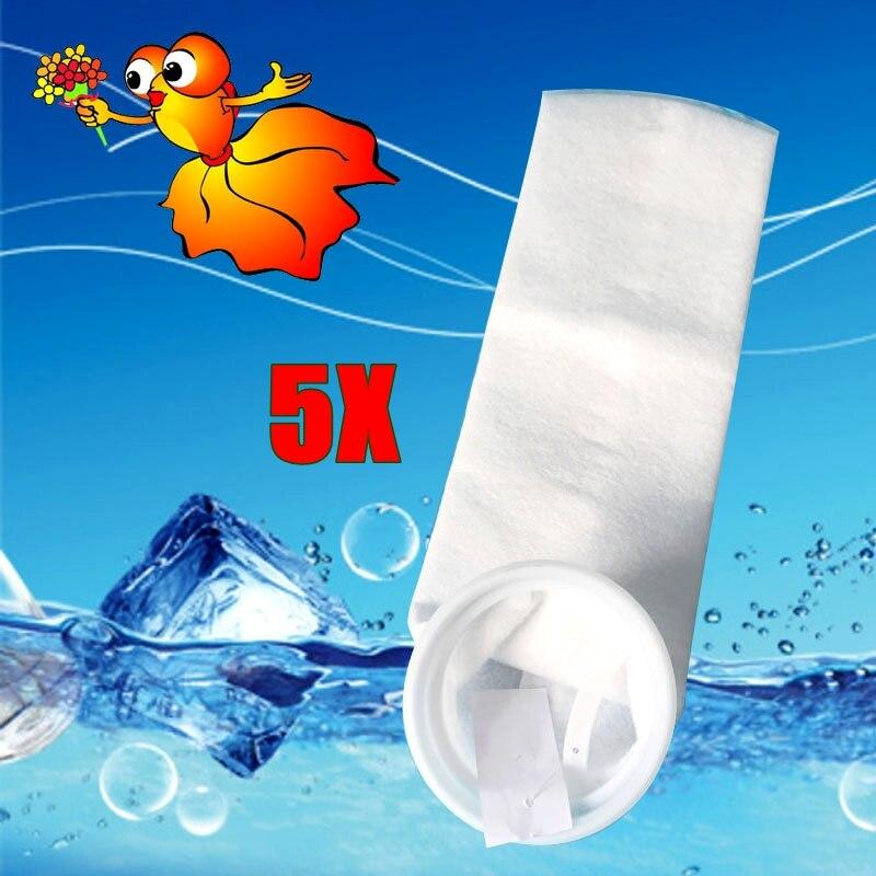 5PCS Aquarium Filz Filter Socke mit Kunststoff Ring aquarium Marine Mesh Sumpf filtration Taschen Neue material 150 200 mikron