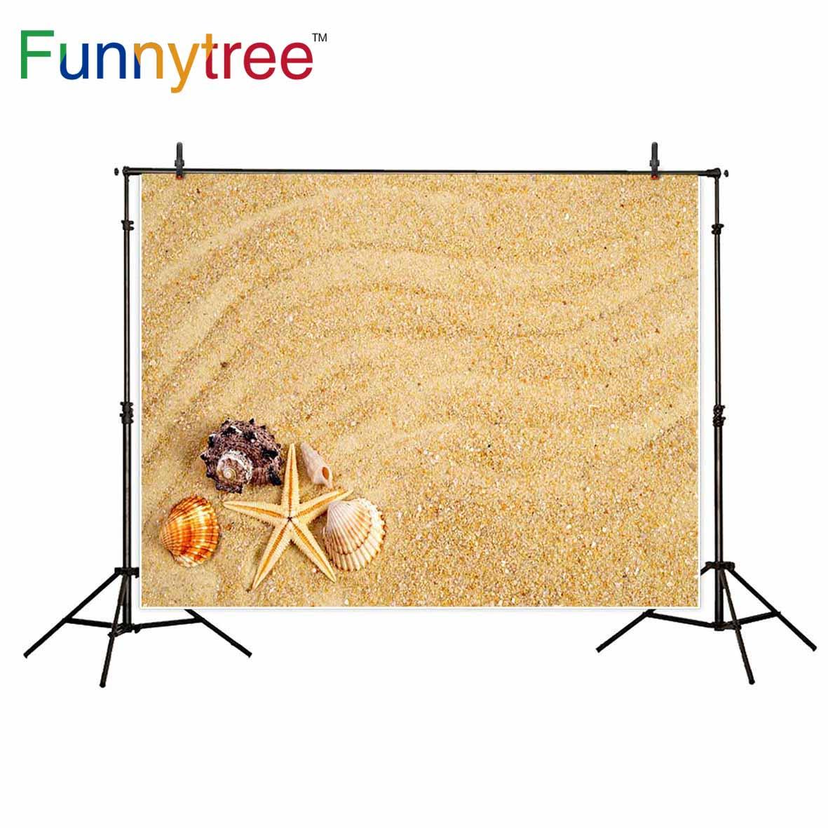 Фоны funnytree для фотостудии песчаный пляж ракушка Морская звезда Летний фон для фотосъемки Фотофон с принтом