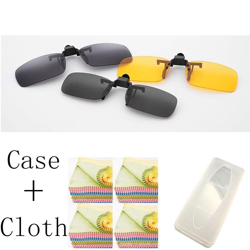1 Uds 3 colores lentes de visión diurna gafas de sol amarillas Clip para conducción nocturna gafas para miopía Clips en retro de sol con funda
