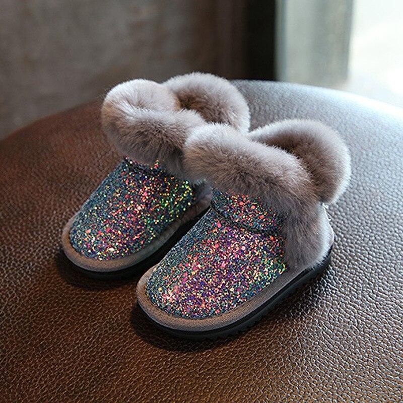 Crianças de Veludo Botas de Neve de Inverno Quente Sapatos de Pelúcia Meninos Meninas Crianças Algodão-Acolchoado Sapatos Tornozelo Botas de Pele Forro de Camurça TX424