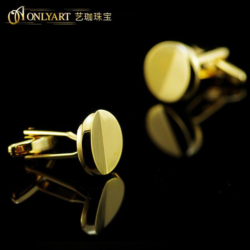 round golden cufflinks for men blank shirt button accessory cuff link with matt finish men bithday gift OnlyArt