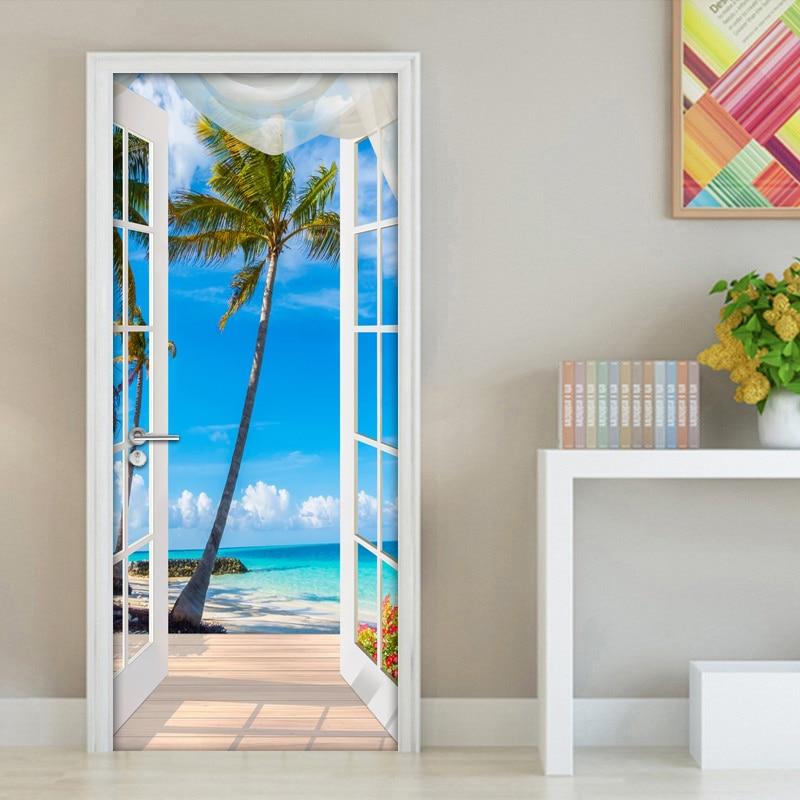3d porta adesivo janela varanda árvore de coco vista mar mural da parede adesivos auto adesivo removível casa decalques parede