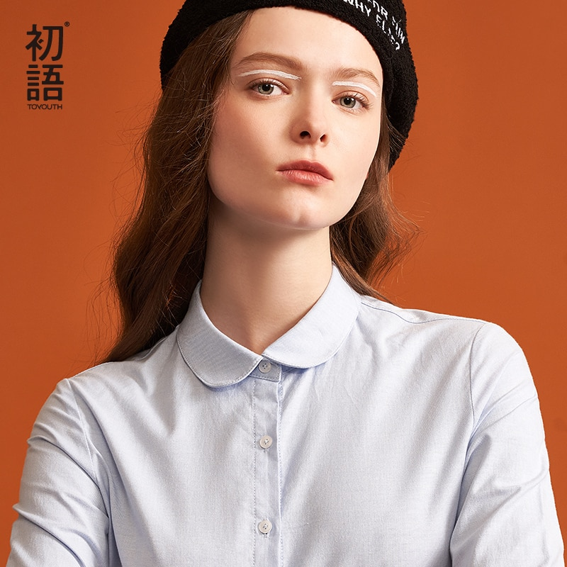 Toyouth otoño mujer Blusa Formal de manga larga moda 5 Estilo cuello sólido Camisas Casual mujer azul blanco Tops Blusa femenina