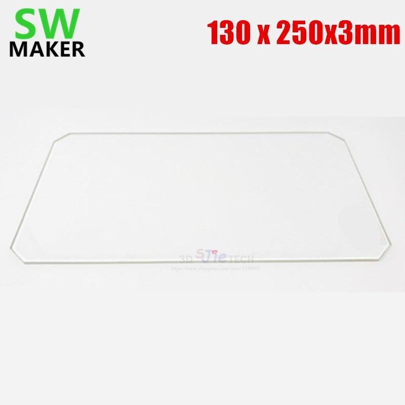 130x250x3 مللي متر البورسليكات طبق من الزجاج مع قطع الزاوية ل MP Mini حدد تمديد السرير طابعة ثلاثية الأبعاد أجزاء