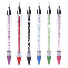 14.5 cm double-fin stylo à points Art des ongles strass poignée sélecteur cire crayon cristal perle 6 couleurs
