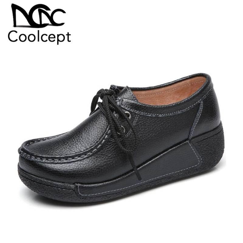 CoolCept, nuevos zapatos planos para mujer, zapatos con cordones de cuero Real, zapatos con balancín para mujer, Muffin, parte inferior gruesa, calzado de comercio exterior, talla 35-41