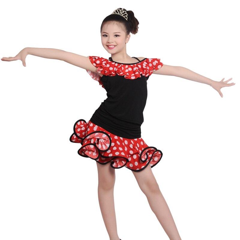 Barato niñas Rocío hombros hoja de loto Polka Dot rizo Edge vestido niño chico rendimiento traje de camisa de baile Latino