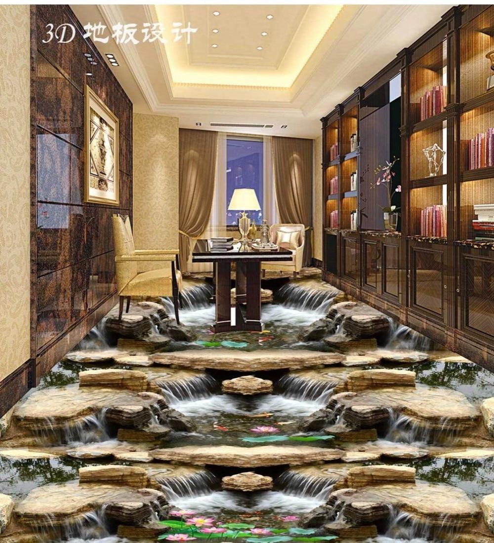 Envío Gratis 3D piedras de río Stream Falls baño cocina pasillo restaurante decoración desgaste papel pintado de suelo mural