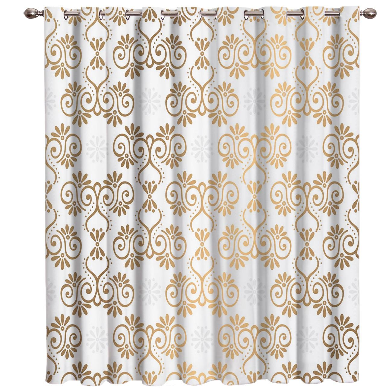 Золотой марокканский узор дамасский Декор для спальни, кухни, открытый декор, обработка окон, занавески, занавески