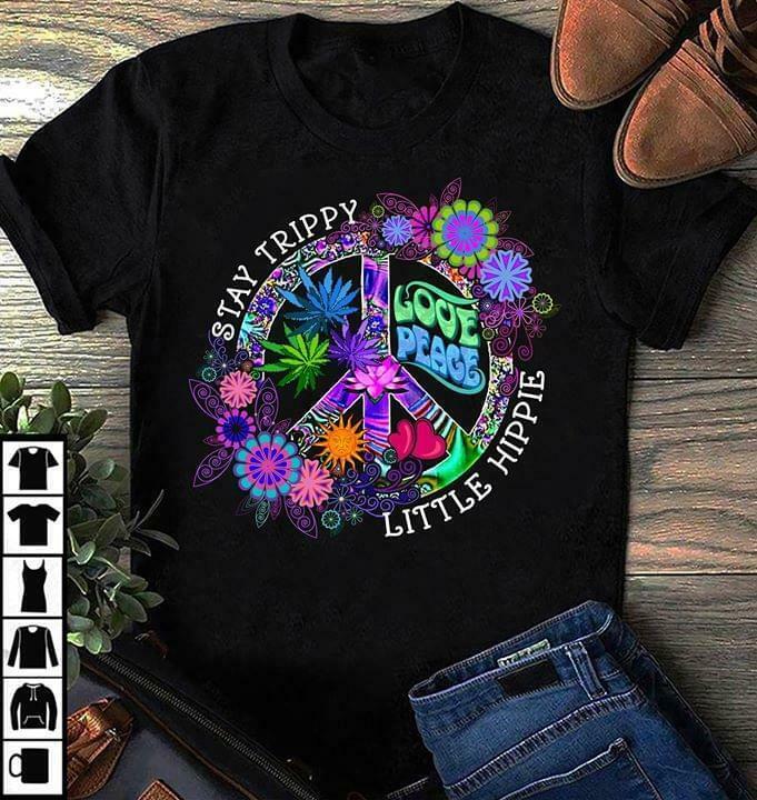 Hippie Stay Trippy Little Hippie amor, paz hombres negro camiseta algodón S 6Xl