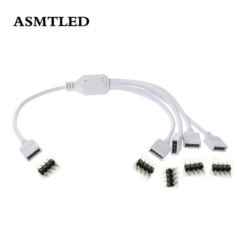 Accesorios de tira 1 a 2 3 4 formas de salida 4 pines 10MM conector hembra divisor RGB tiras LED Cable de extensión para tira de LED 5050