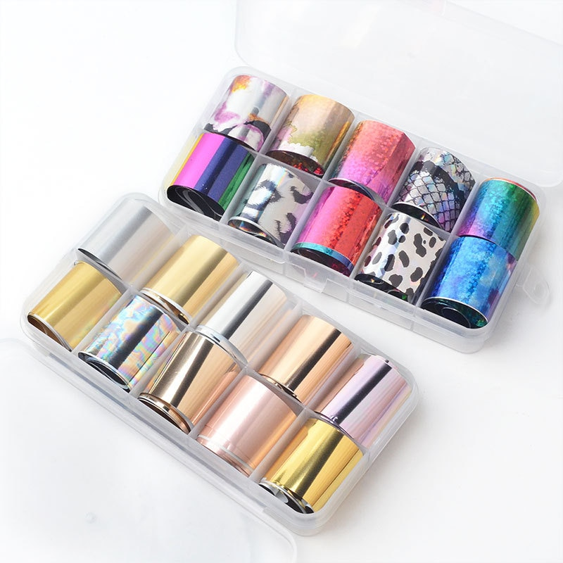 10pcs Mix 10 Designs Nail Transfer Foil 2.5*100cm Laser Gold Silver Nail Foils Wraps Glitter Starry