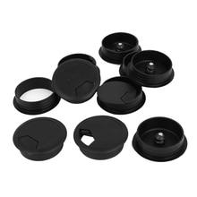 Couvercle de trou de œillet de câble   Câble dordinateur rond en plastique de 10 pièces 50mm noir