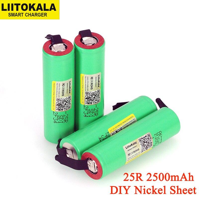 4 pçs/lote Liitokala 100% Original novo 18650 INR1865025R 20A descarga li-lon Recarregável Battery Power + DIY Níquel