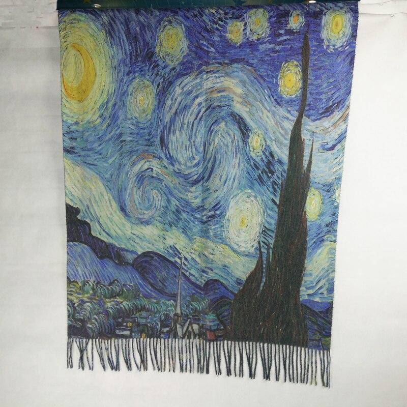España moda mujer invierno diseñador KlimtVan Gogh pintura al óleo bufanda de Cachemira chal foulard bandana mujeres wraps LL180828