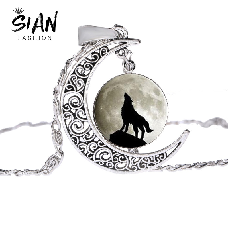 SIAN Vintage Wolf & Full Moon Chain Necklace Wicca Animal Power Norse Viking Amulet Pendant Necklace