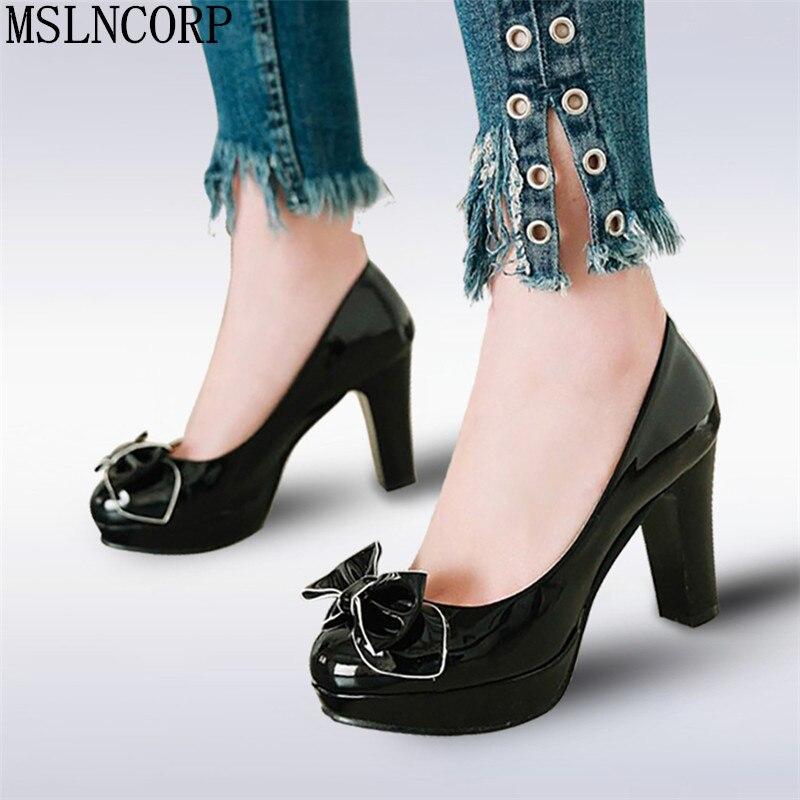 Zapatos de mujer talla 34-43 primavera otoño estilo de princesa dulce mariposa mujer señoras estudiantes tacones altos tacones de plataforma de boda