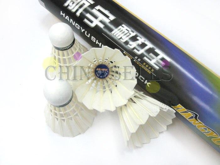 6tude подлинный hangyu бадминтон воланы прочный Король Волан из гусиных перьев Бадминтон мяч 12 шаров flightA