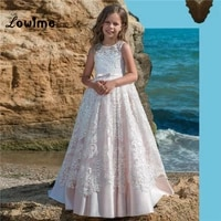 pink satin flower girl dresses beautiful girls pageant dress first communion dresses for girls custom made with lace applique