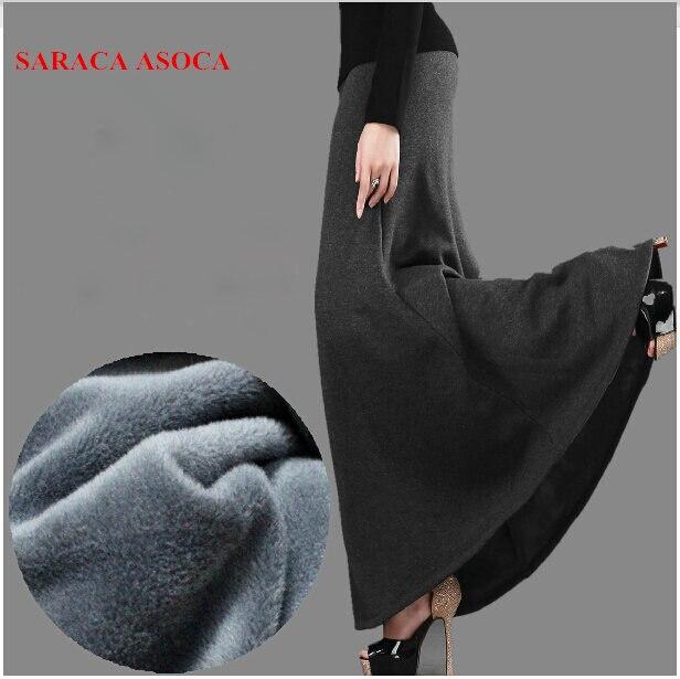 Женская длинная юбка из плотной ткани, с высокой талией, на осень и зиму, размера плюс